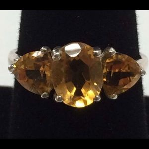 Jewelry - Sterling Silver 925 Citrine Three Stone Ring 8.75